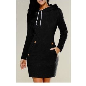 BLACK HOODIE MINI DRESS OR TOP